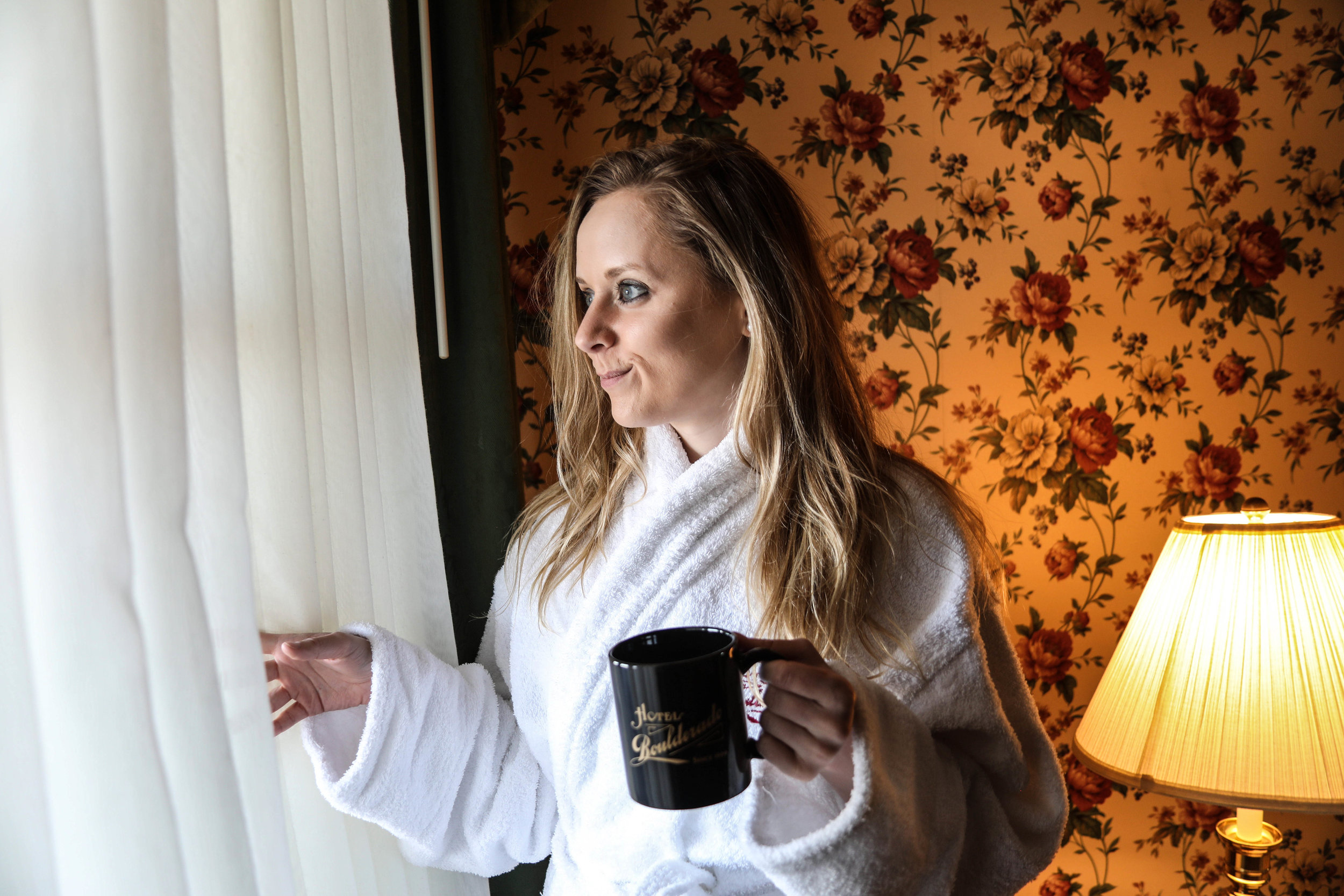 waking up at hotel boulderado with their plush bathrobes and other luxury amenities.