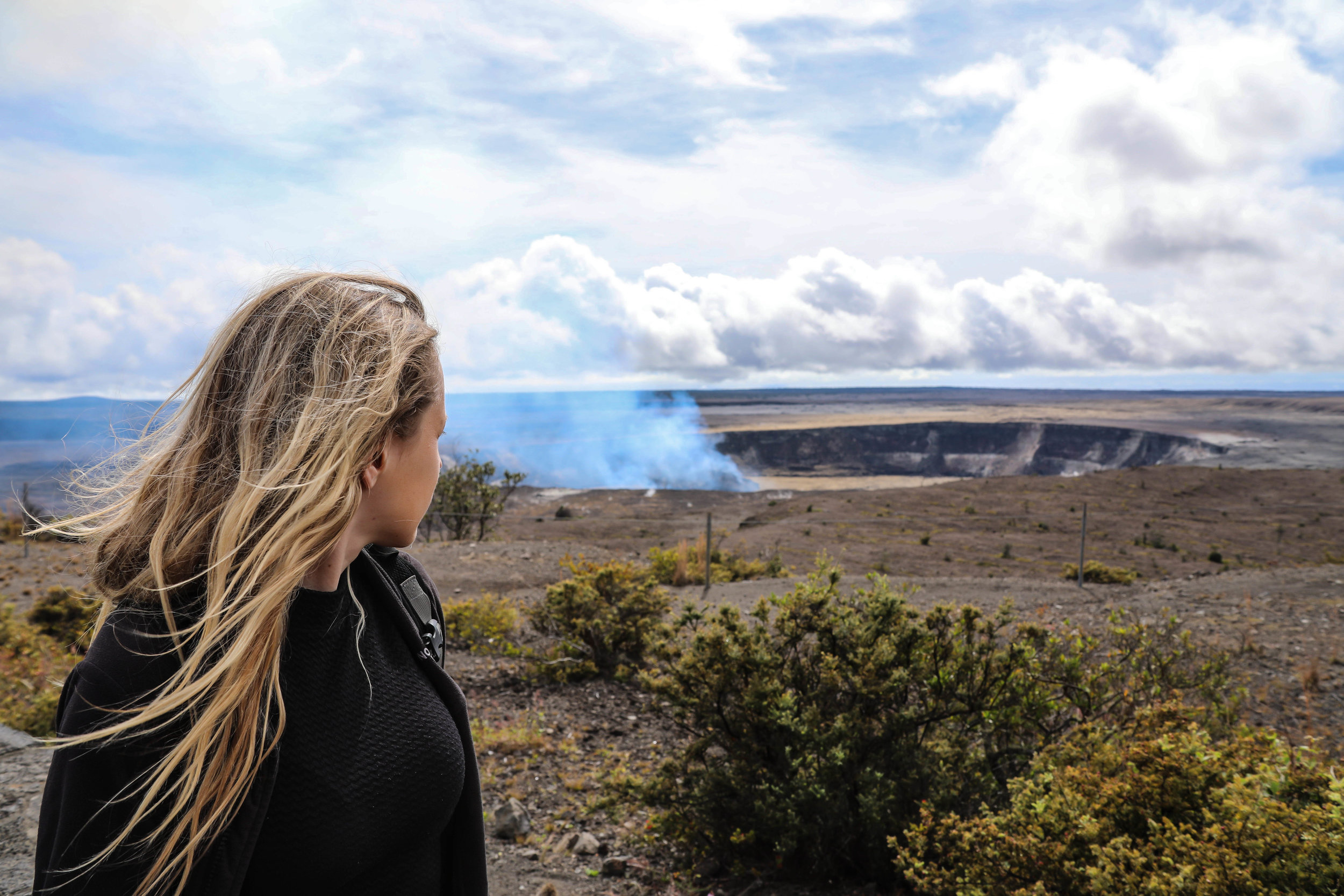 Hiking near Kilauea Volcano in Hawaii Volcanoes National Park.