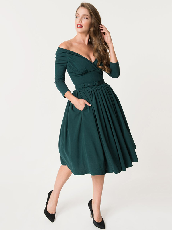 Off the shoulder tea dress by Unique Vintage