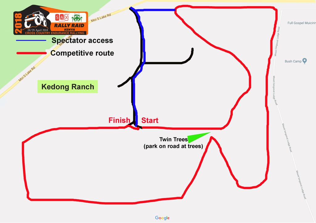 Day 2 - Spectator Map - Compeititive Route indicative only.