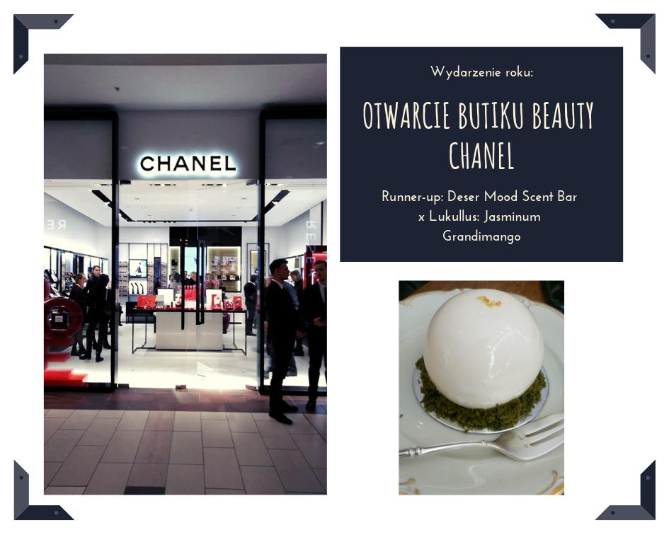 Absolutny hit roku! Pierwszy beatu butik Chanel w Polsce ma wszystko, na co fani marki czekali od lat - edycje limitowane, pełną ofertę pielęgnacji i makijażu oraz (werble!) całą linie butikowych zapachów Les Exclusifs de Chanel. Wypatrujcie go na parterze warszawskiej Galerii Mokotów.  Deser nie z tej ziemi, który zachwyca wszystkie zmysły - smaku, to oczywiste, zapachu, bo rzeczywiście pachnie jaśminem, wzroku, bo wygląda jak małe dzieło sztuki i słuchu… sami posłuchajcie - Jasminum Grandimango! Został stworzony w kolaboracji między cukiernią Lukullus i Mood Scent Bar dla uczczenia 5-cio lecia perfumerii. Jest nadal do spróbowania!