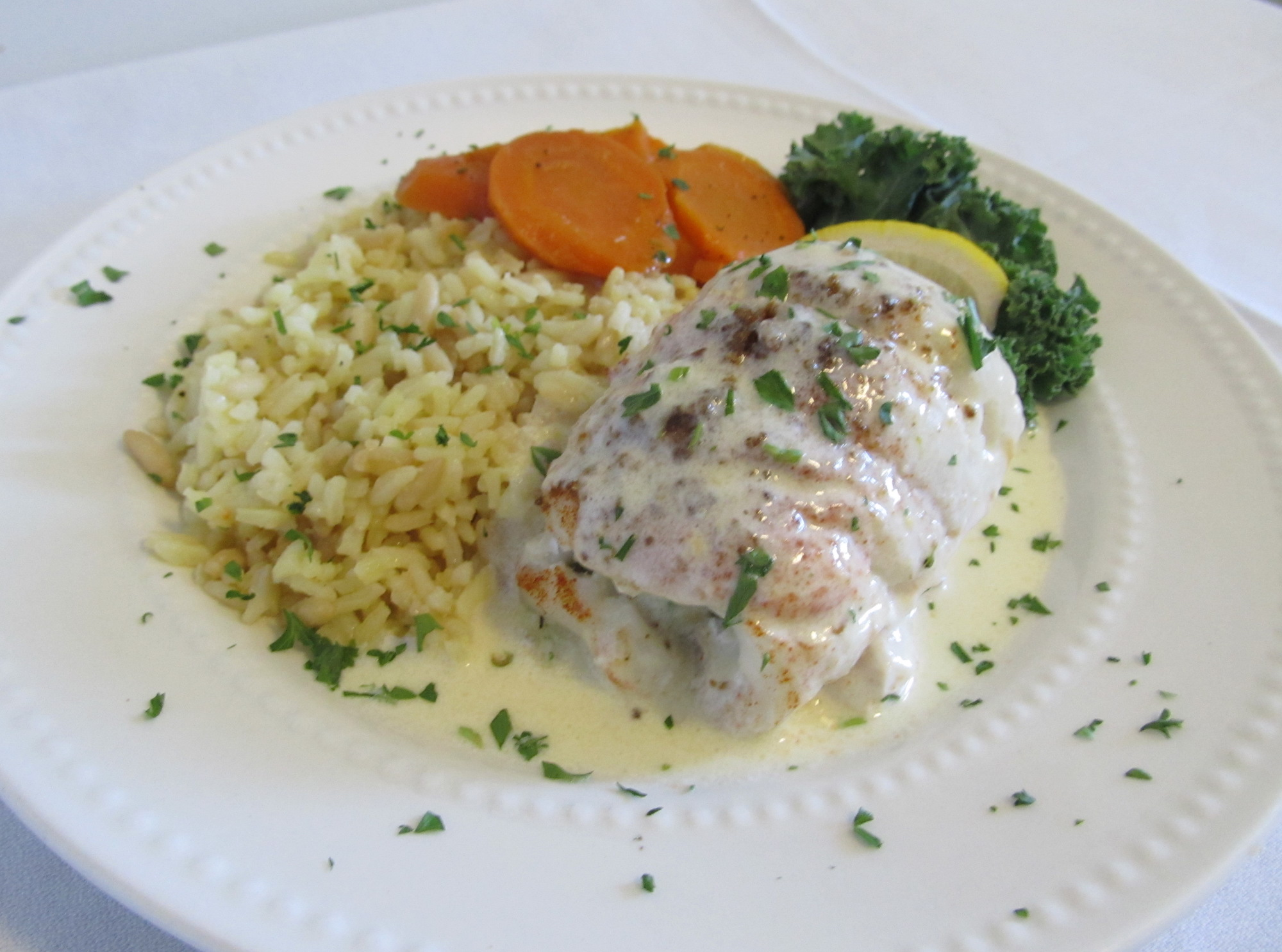 Baked Stuffed Haddock with a Buerre Blanc Sauce - a frequent 'special' on our dinner menu