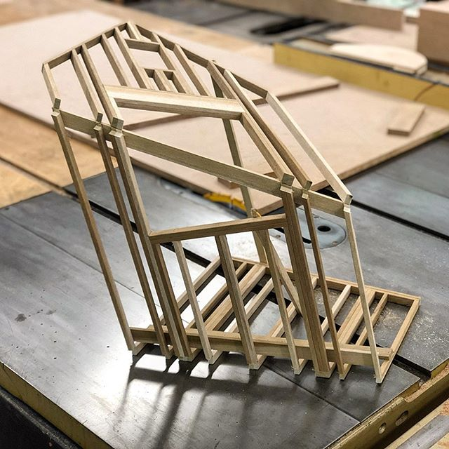 Slicey-dicey, continuing to experiment with these framing pieces. . . #wood #woodworking #carpentry #trades #framing #miniature #model #art #sculpture #craft #woodshop #furniture #design
