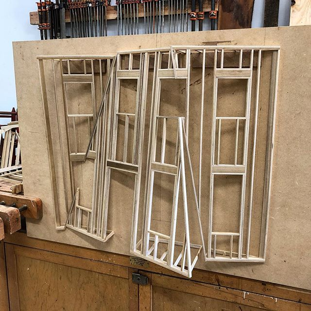 Progress. Gonna start messing with trim and siding next.  #woodworking #woodshop #wood #miniature #miniatures #model #sculpture #architecture #art #design #furniture #scale #facade