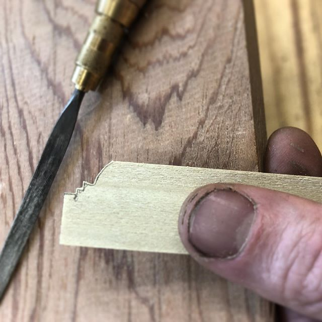 When one must scribe around 1/8th scale crown molding, tiny tools are required. . #wood #woodworking #woodshop #molding #carpentry #modelmaking #scratchbuiltmodel #miniature #miniart #sculpture