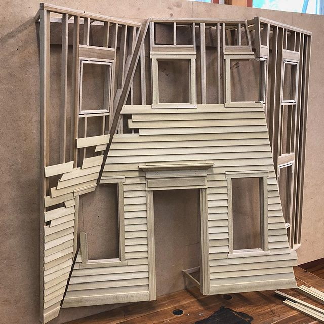 Running siding today. Getting excited to start the finishing.  #sculpture #wood #woodworking #woodshop #modelmaking #miniature #miniart #framing #carpentry #scratchbuiltmodel #facade