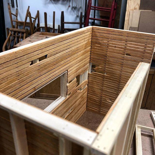 Tiny progress.. . . #miniature #model #scalemodels #sculpture #art #wood #woodworking #wip #lath #carpentry #construction #scratchbuilt #1/8inchscale #woodshop #framing