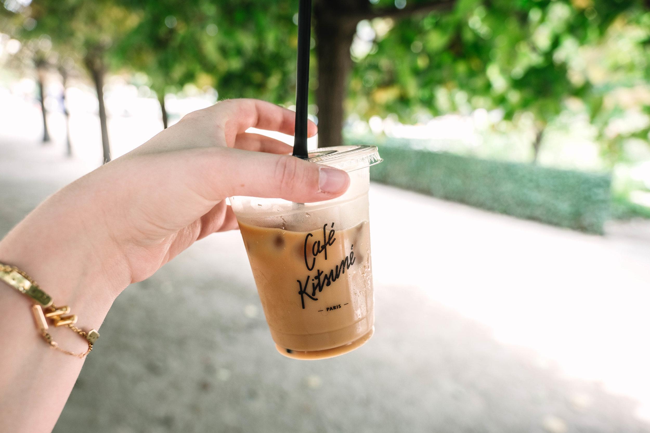 latte from Cafe Kitsune in the Jardin du Palais Royal