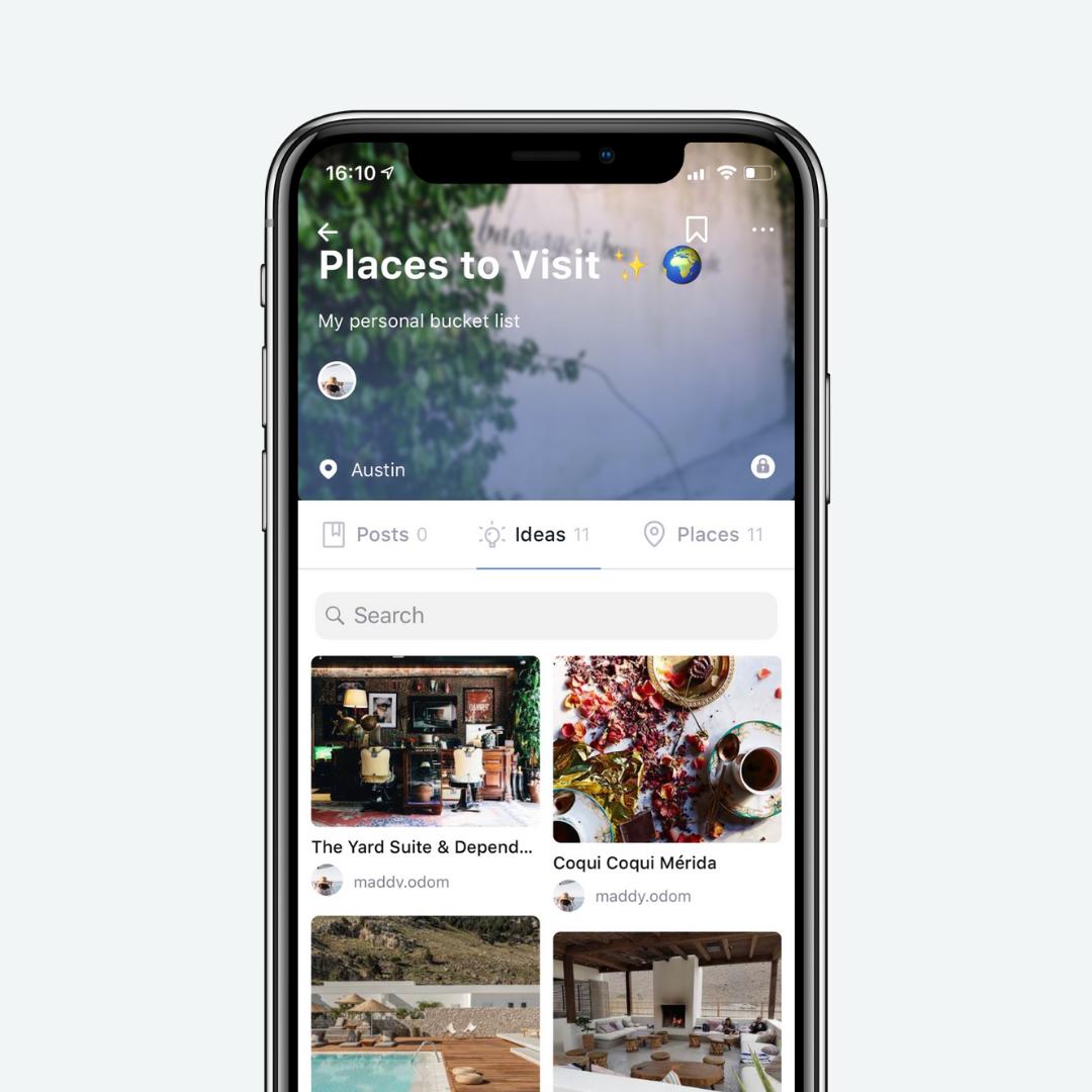 Enregistrer des idées pour les endroits que vous souhaitez visiter - Restaurants, Hotels et autres activités quotidiennes