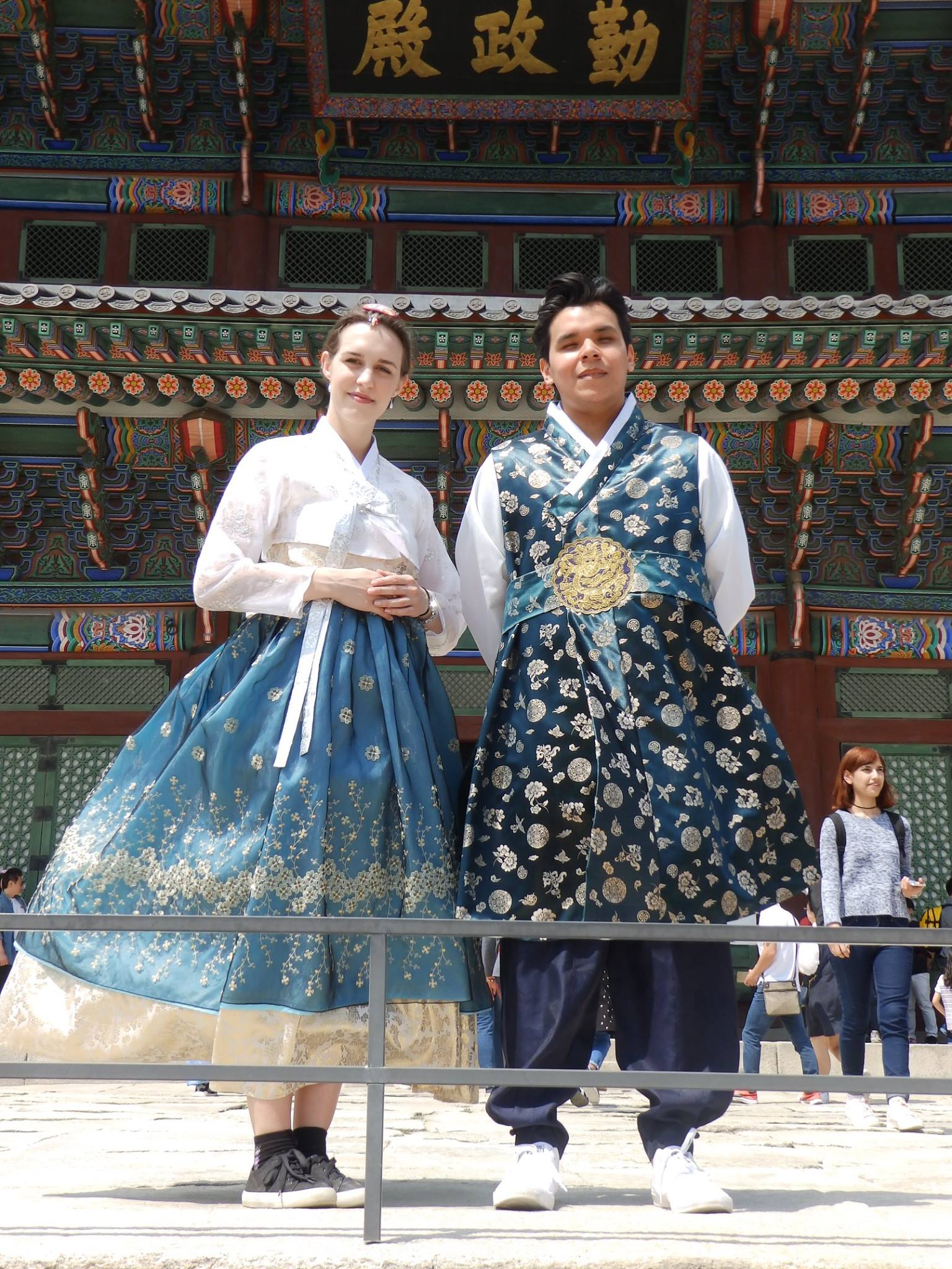 "A friend and I in matching hanbok. Note: If you are over 5'5"", your feet will stick out. Wear cute shoes."