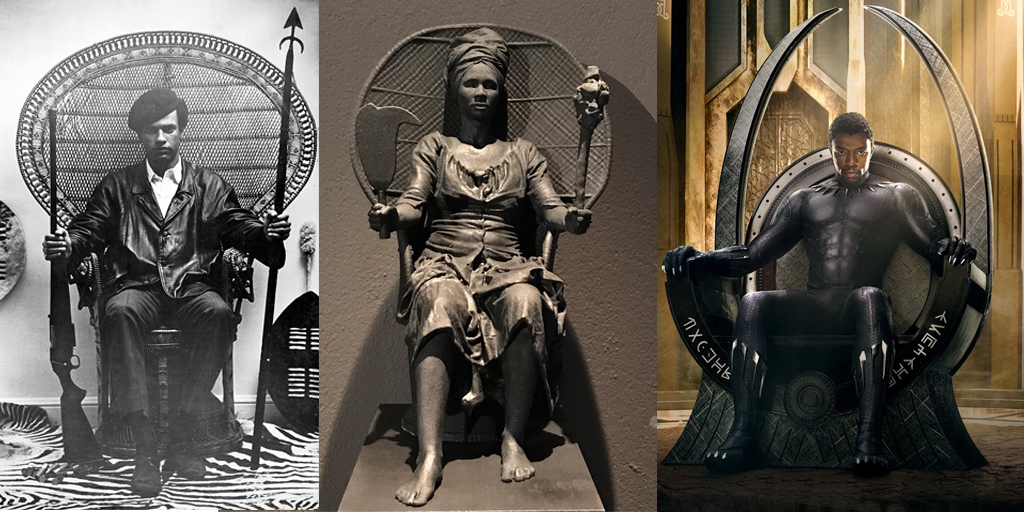 "Huey P. Newton, leader of the Black Panther,  Prototype of ""I Am Queen Mary"" , ""Black Panther"" movie poster image"