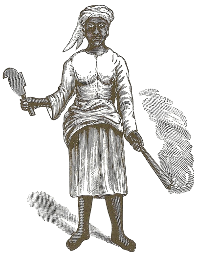 Woodcut by English doctor Charles E. Taylor in 1888 often used as a depiction of Queen Mary holding a cane bill and torch.