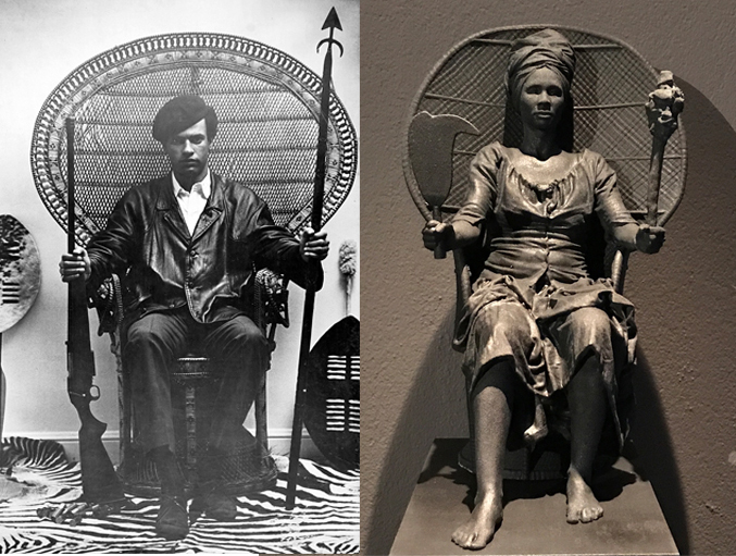 """Huey P. Newton, leader of the Black Panther Party, Prototype of """"I Am Queen Mary """"  (Photo credit: The Workers Museum)"""