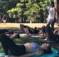 Leading yoga in Central Park for Ladies NYC.
