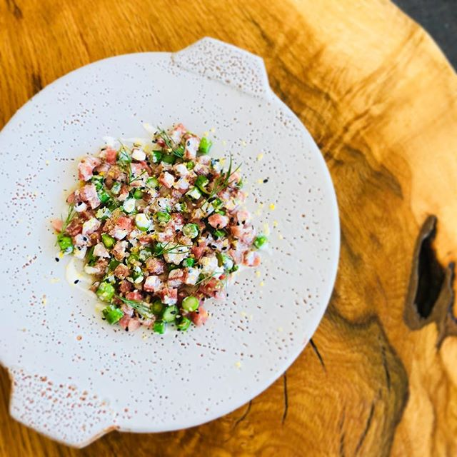 New first course on tonight: @birchrunhills veal tartare with @greenmeadowfarmpa grilled asparagus, mustard, everything spice & @lostbreadco caraway rye toast on gorgeous @joesingewaldpottery plates.