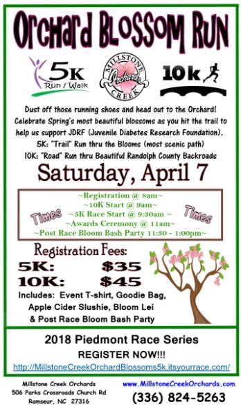 - You can not register directly on our website, click here to register. Dust off those running shoes and head out to the Orchard!  Celebrate Spring's most beautiful blossoms as you hit the trail to help us support JDRF (Juvenile Diabetes Research Foundation). 5K: