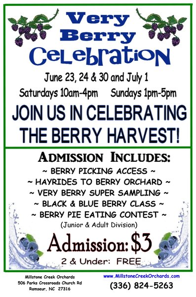 - Celebrate Berries Summer Harvest @ The Orchard!!!ADMISSION INCLUDES: Berry Picking, Hayrides, Black & Blue Berry Class, Berry Pie Eating Contest and Very Berry Sampling.Kids (2 & under): FREEBerry excited to celebrate all things berry...PURCHASE TICKETS TODAY!