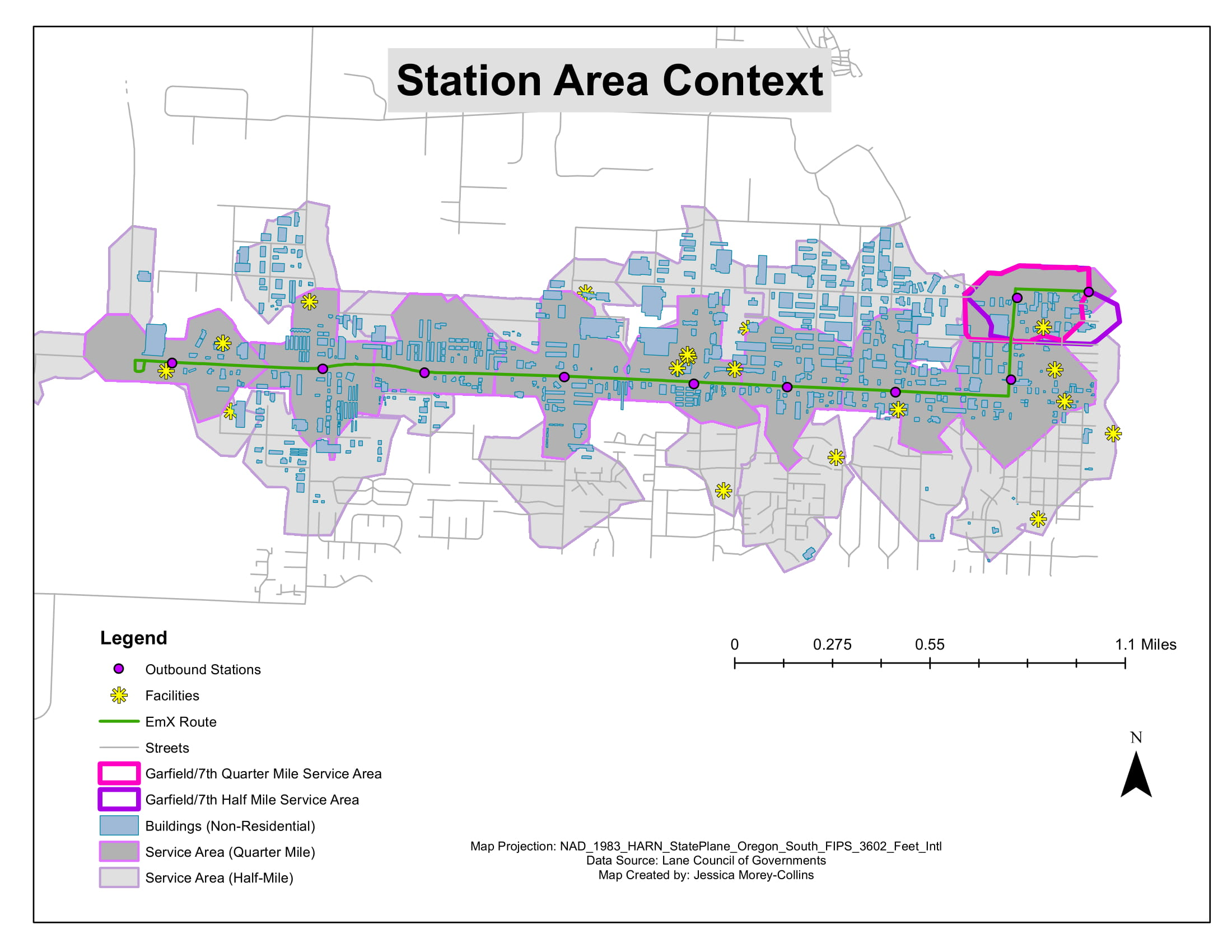 Site context for environmental analysis of a new public transportation line in Eugene, Oregon.