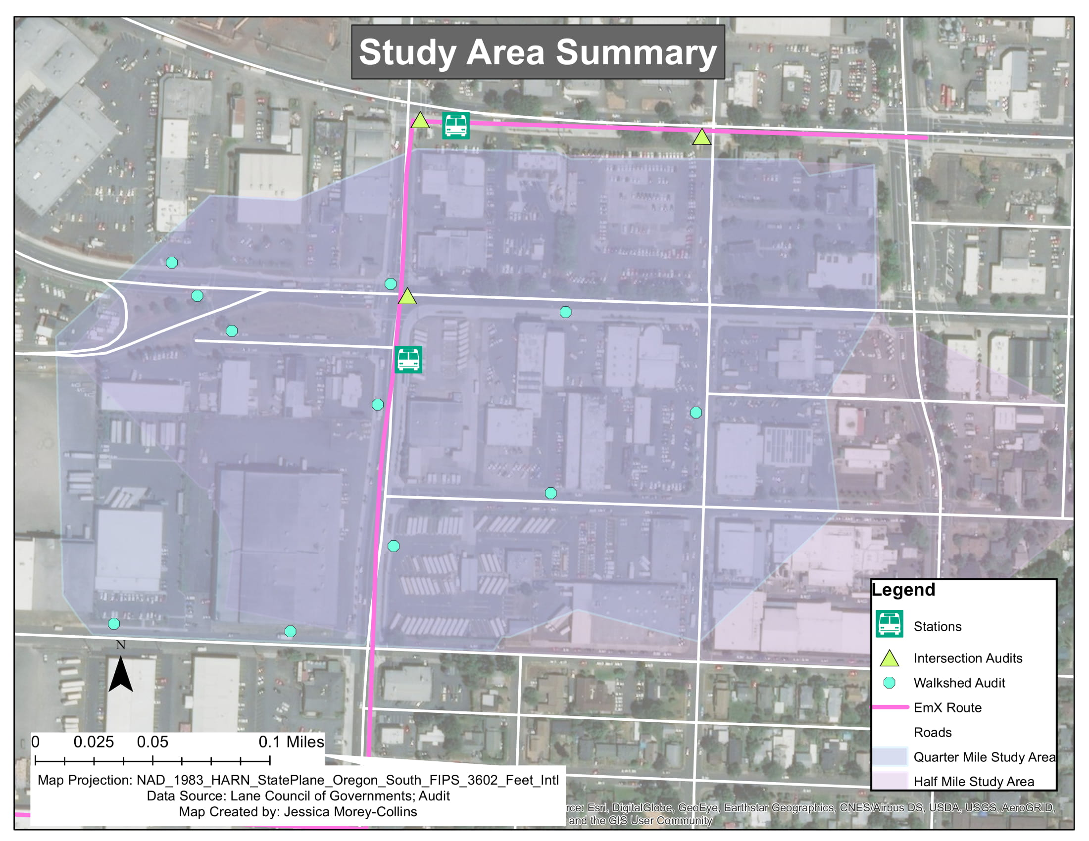 Study area summary for environmental analysis of a new public transportation line in Eugene, Oregon.