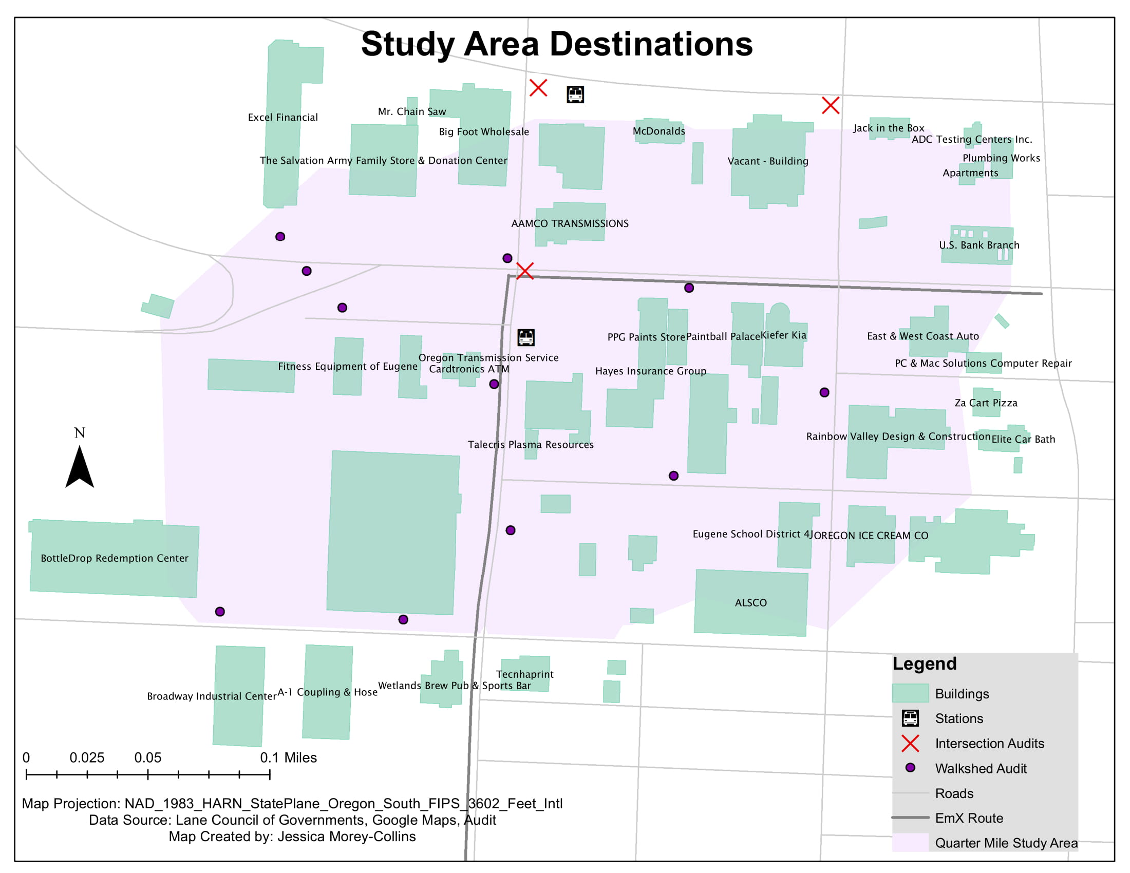 Destination summary for environmental analysis of a new public transportation line in Eugene, Oregon.