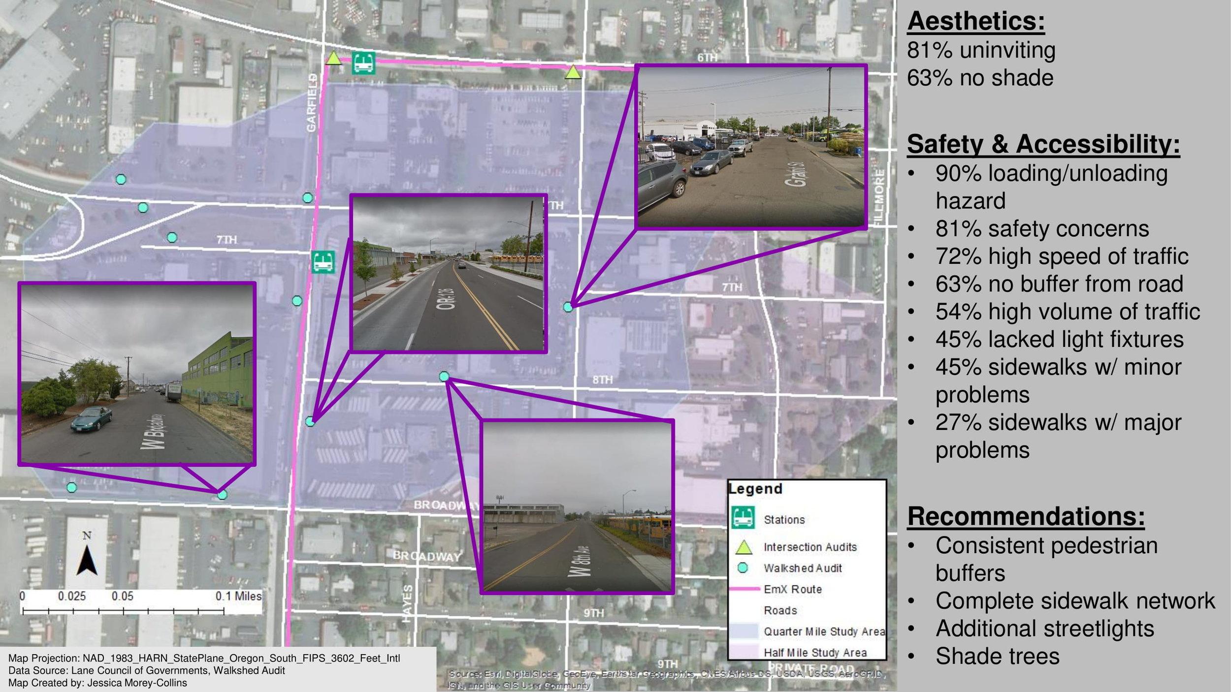 Walkshed audit for environmental analysis of a new public transportation line in Eugene, Oregon.