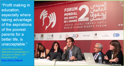 GI-ESCR staff, Sylvain Aubry, presenting at the Education Forum of the World Human Rights Forum in November, 2014