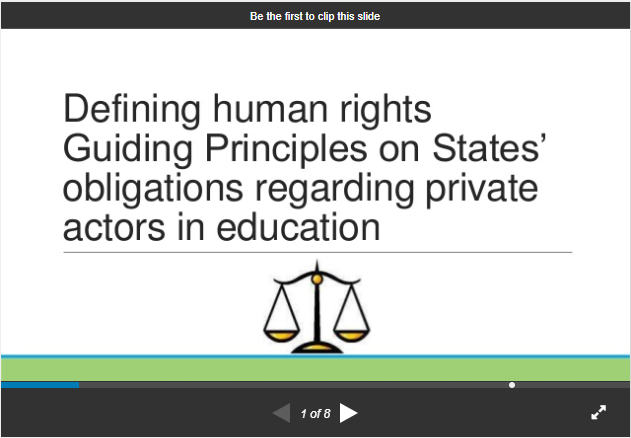 Defining Human Rights Guiding Principles on States obligations regarding private actors in education