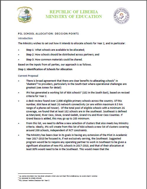 PSL Allocation Decision Points