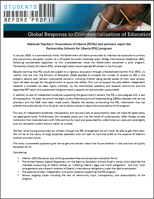 Global Response to Commericalisation of Education: National Teachers' Association of Liberia (NTAL) and partners reject the Partnership Schools for Liberia (PSL) program