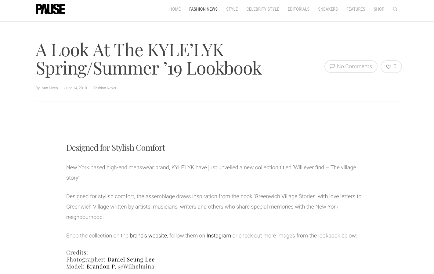 KYLE'LYK Spring/Summer 2019   PAUSE MAGAZINE U.K.