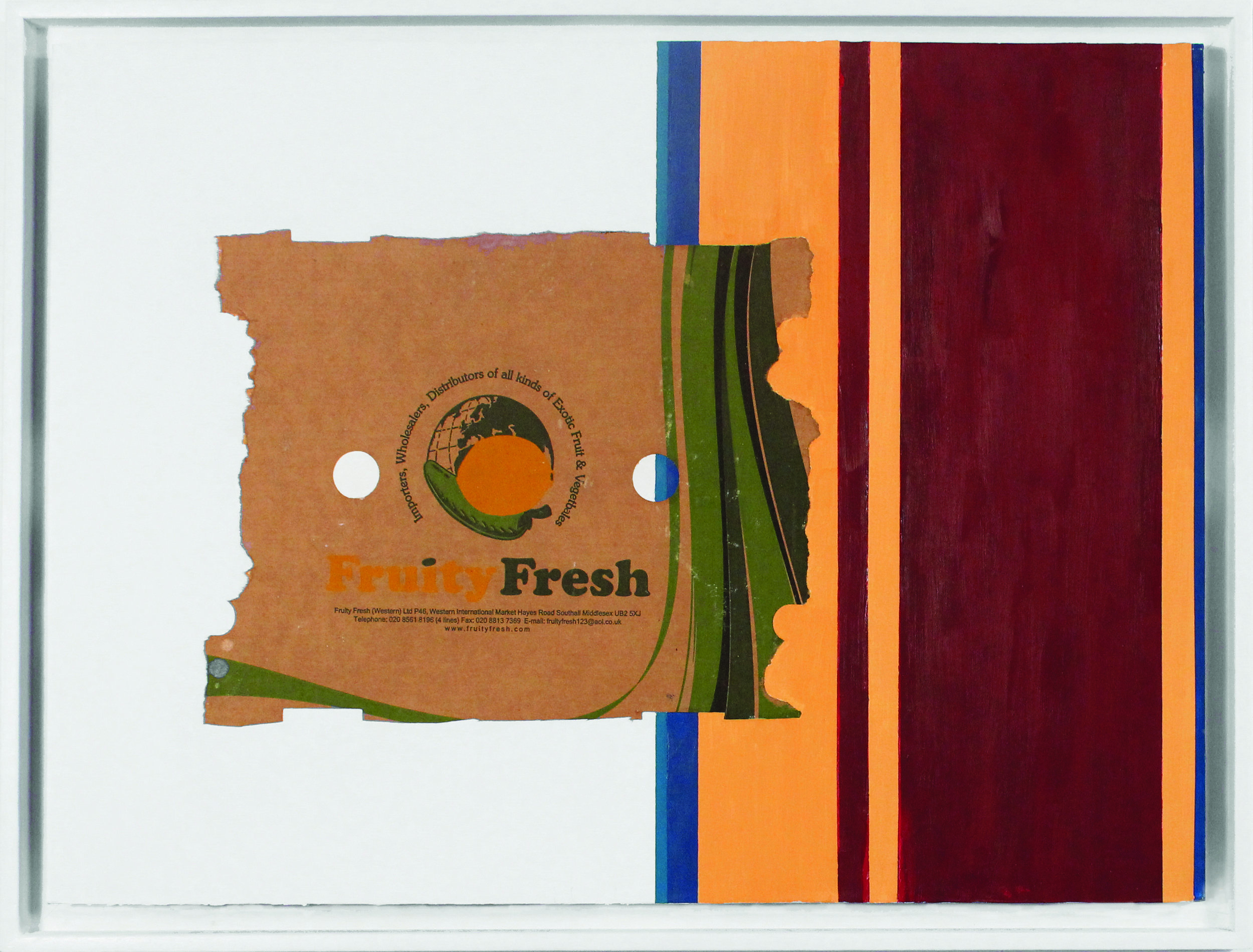 Fruity Fresh  2013, found cardboard box fragment and oil paint over wallpaper on paper, 570 x 760mm.
