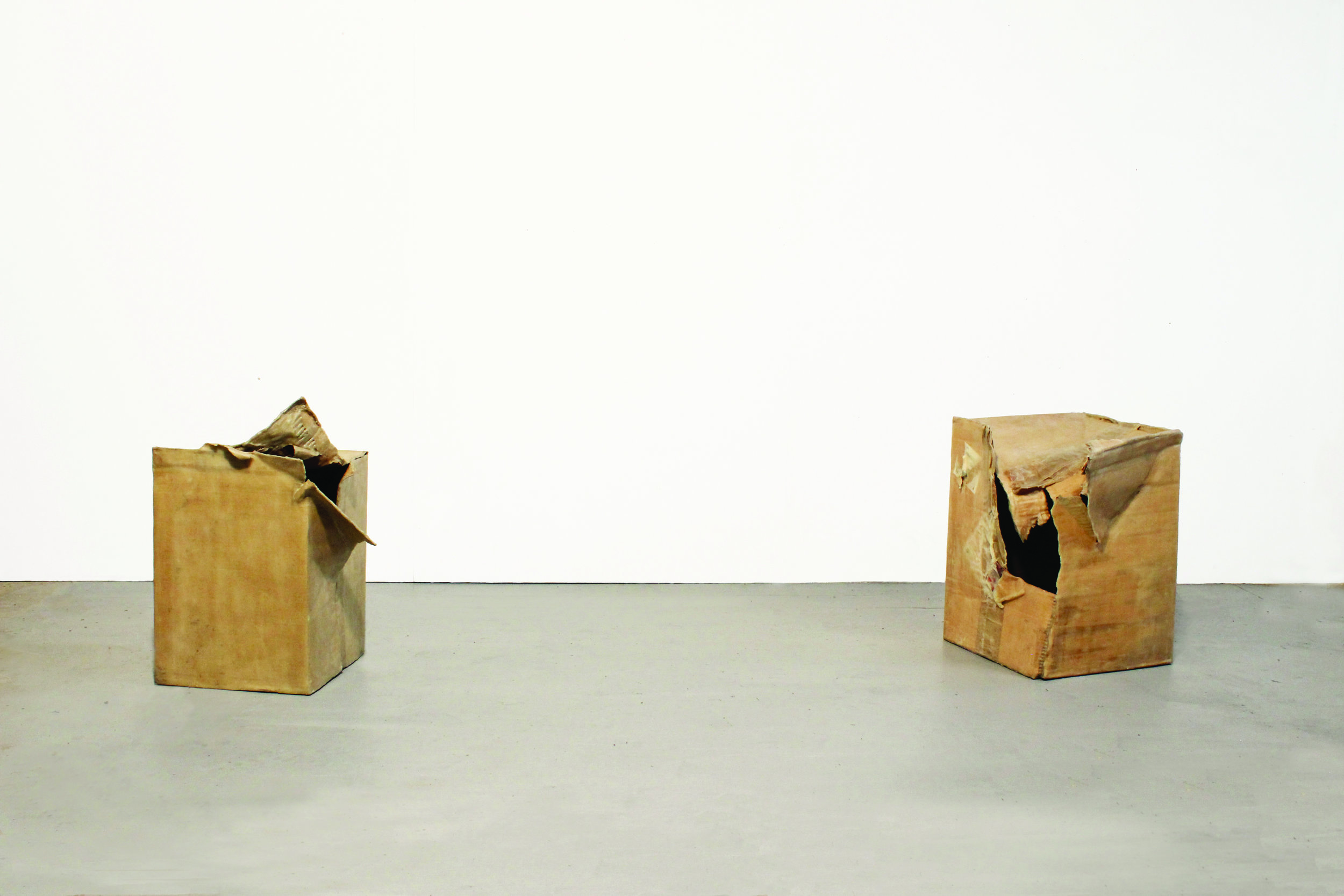 Conversation (culturally significant meaning encoded in an affecting sensuous medium)  2014, corrugated cardboard boxes, wax and resin, 520 x 390 x 290mm and 460 x 440 x 330mm.