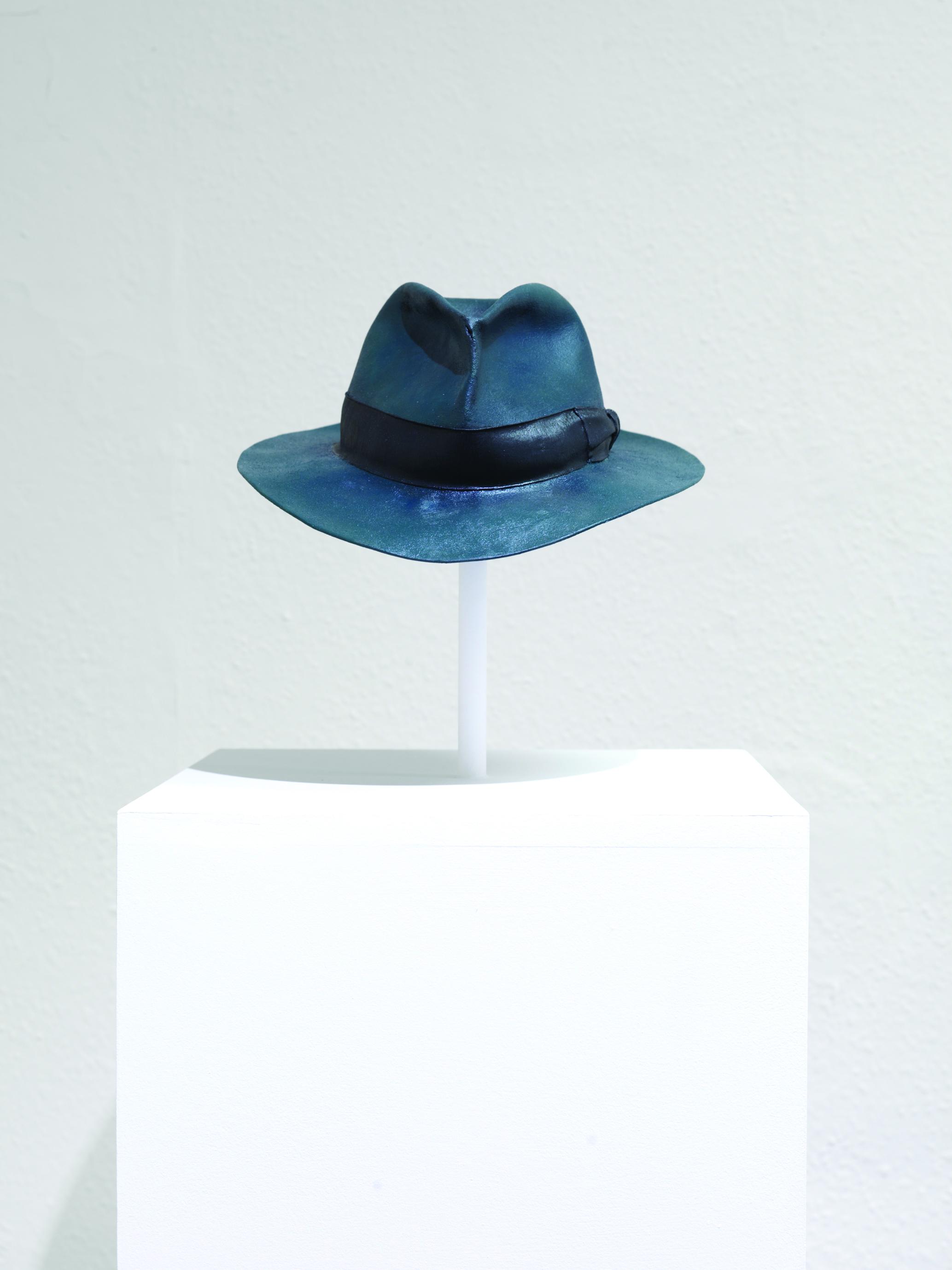Map (Watson's Hat) 2008, felt hat, oil paint, 290 x 320 x 130mm.