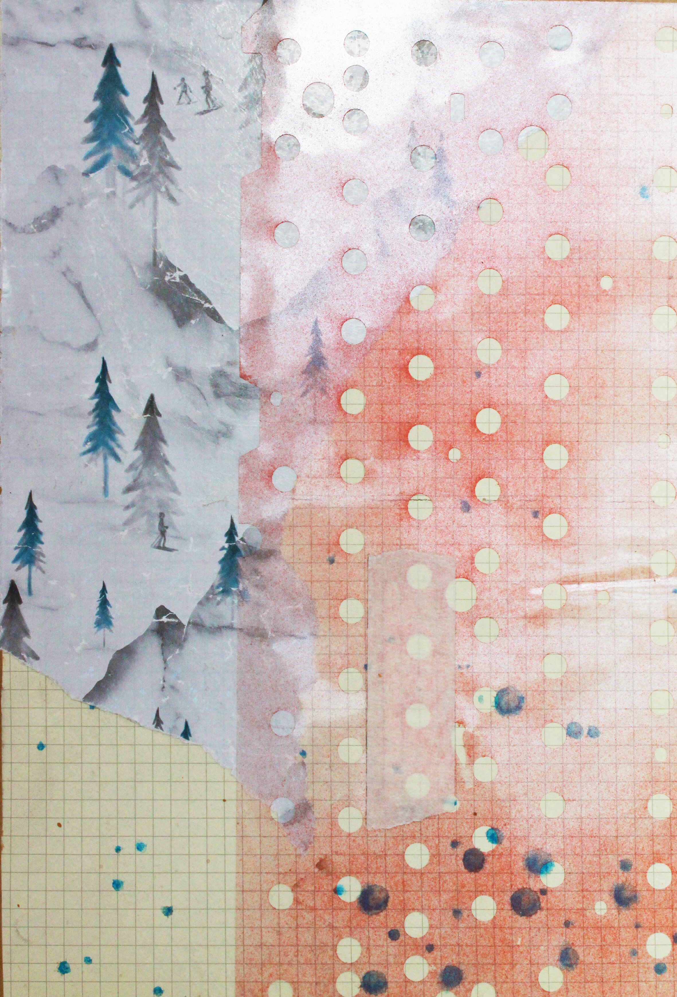 Cévennes collage #1 2019 Printed paper, acetate and masking tape on paper, 245 x 200mm