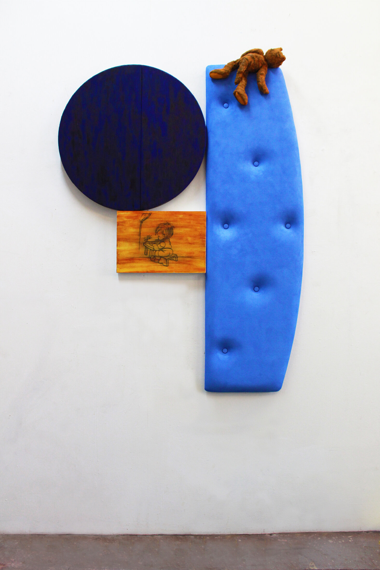Blue bed, barrel head and soft toy  2019 mixed media, 1420 x 1000 x 40mm (approx.)
