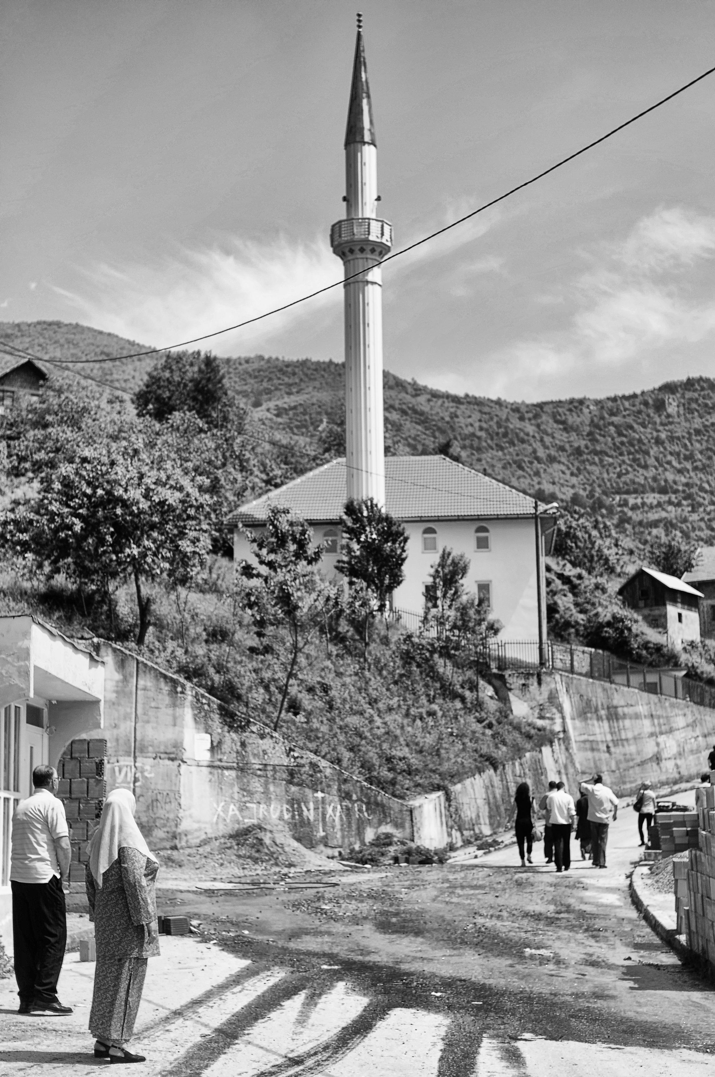 The rebuilt white mosque of Medjedja. During the Bosnian War, the Serbs had reduced the mosque to rubble as they overtook the town.