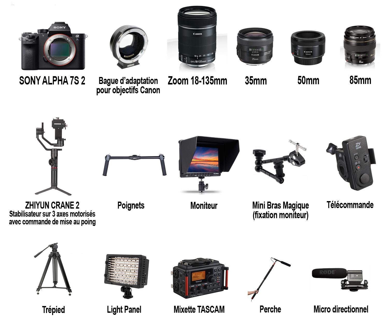 ÉQUIPEMENT - Pour les configurations de tournage légères (films corporates par exemple), j'ai la possibilité de tourner avec mon propre matériel. Je suis équipé d'un boîtier 4K et de nombreux accessoires permettant différentes configurations telles qu'interviews, travelling, etc...