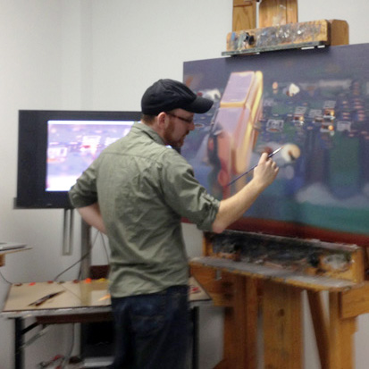 Glen painting at the easel, 2016.
