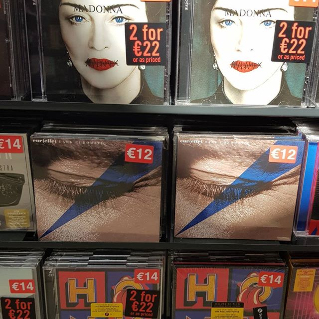 Dark Chromatic is in good company @goldendiscs The Square, Tallaght.  If youd like an actual physical copy, get in and grab yours!! Vinyl €24, CDs €12.  #goldendiscs #tallaght #thesquare #vinyl #cds #darkchromatic #eurelle