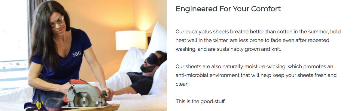 Sheets & Giggles landing page