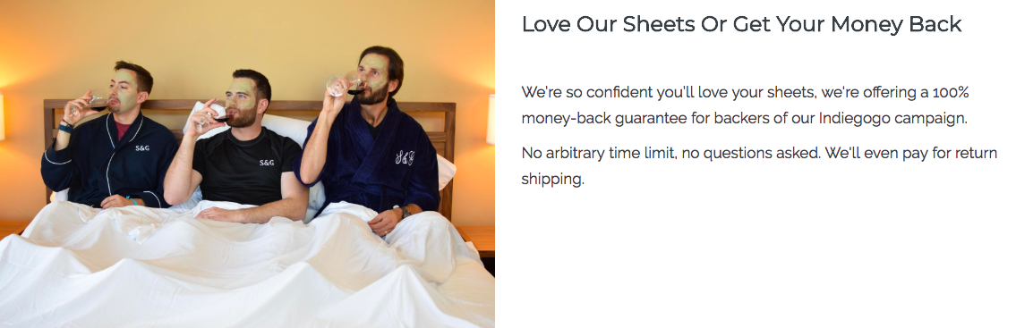 Sheets & Giggles landing page 3