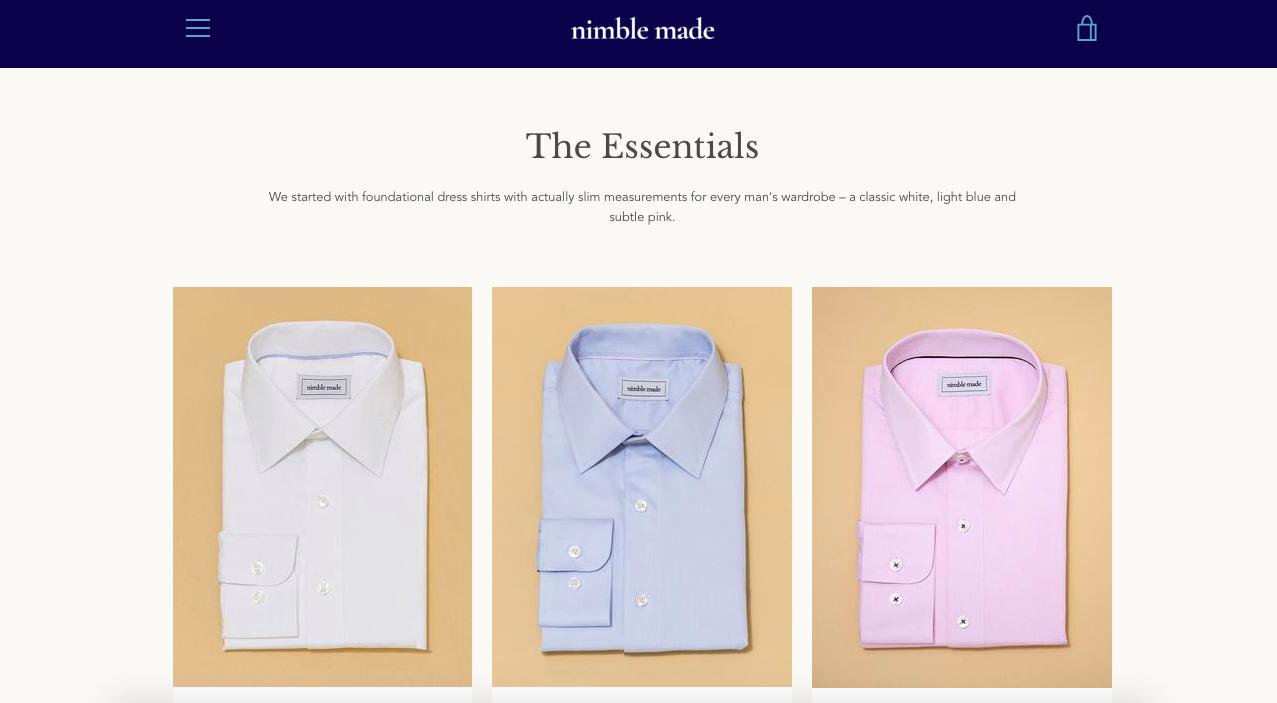 Nimble Made Slim Men's Dress Shirts
