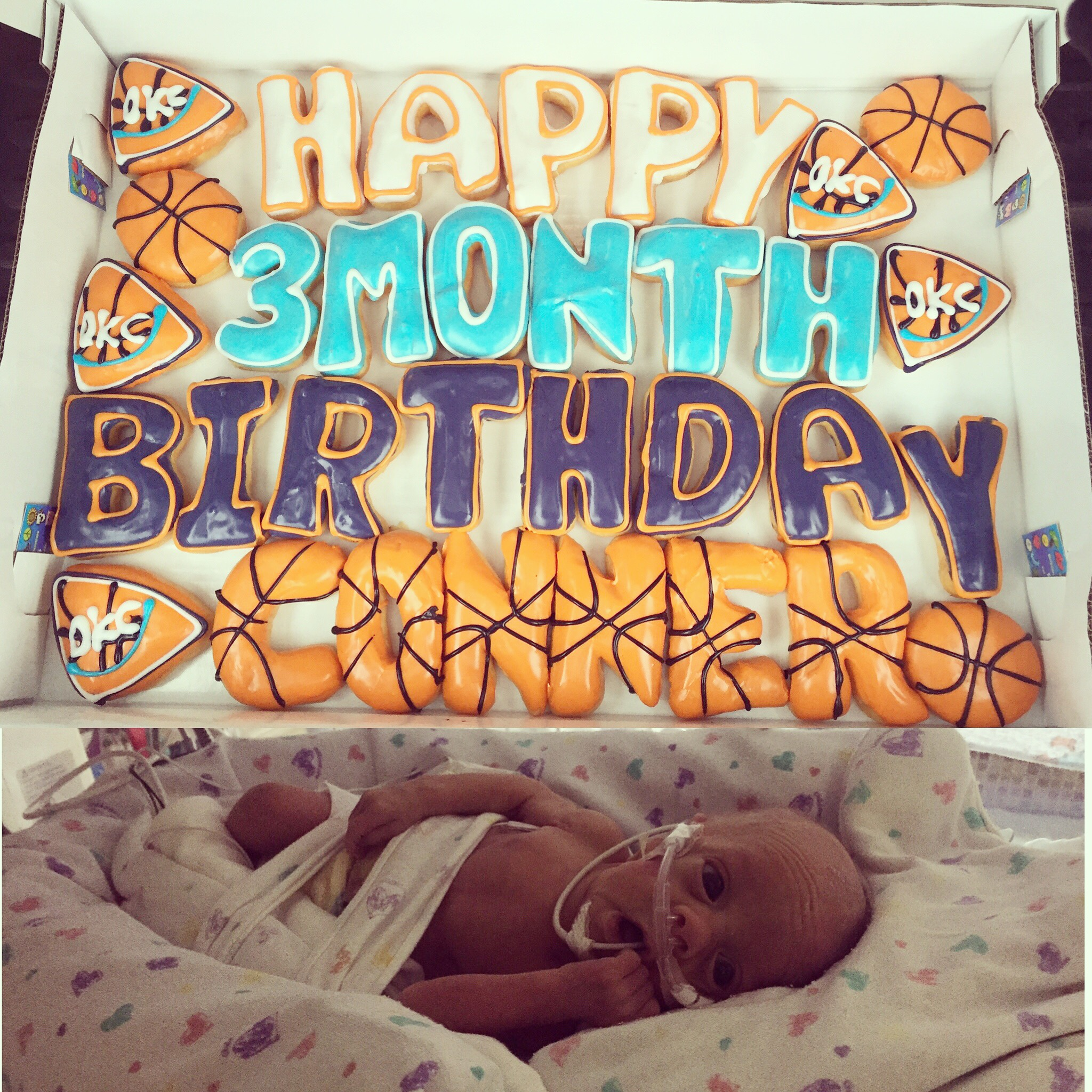 Thunderin' up for Conner's 3rd birthday! His neonatologist is arguably the biggest OKC Thunder fan in the world (no joke)!