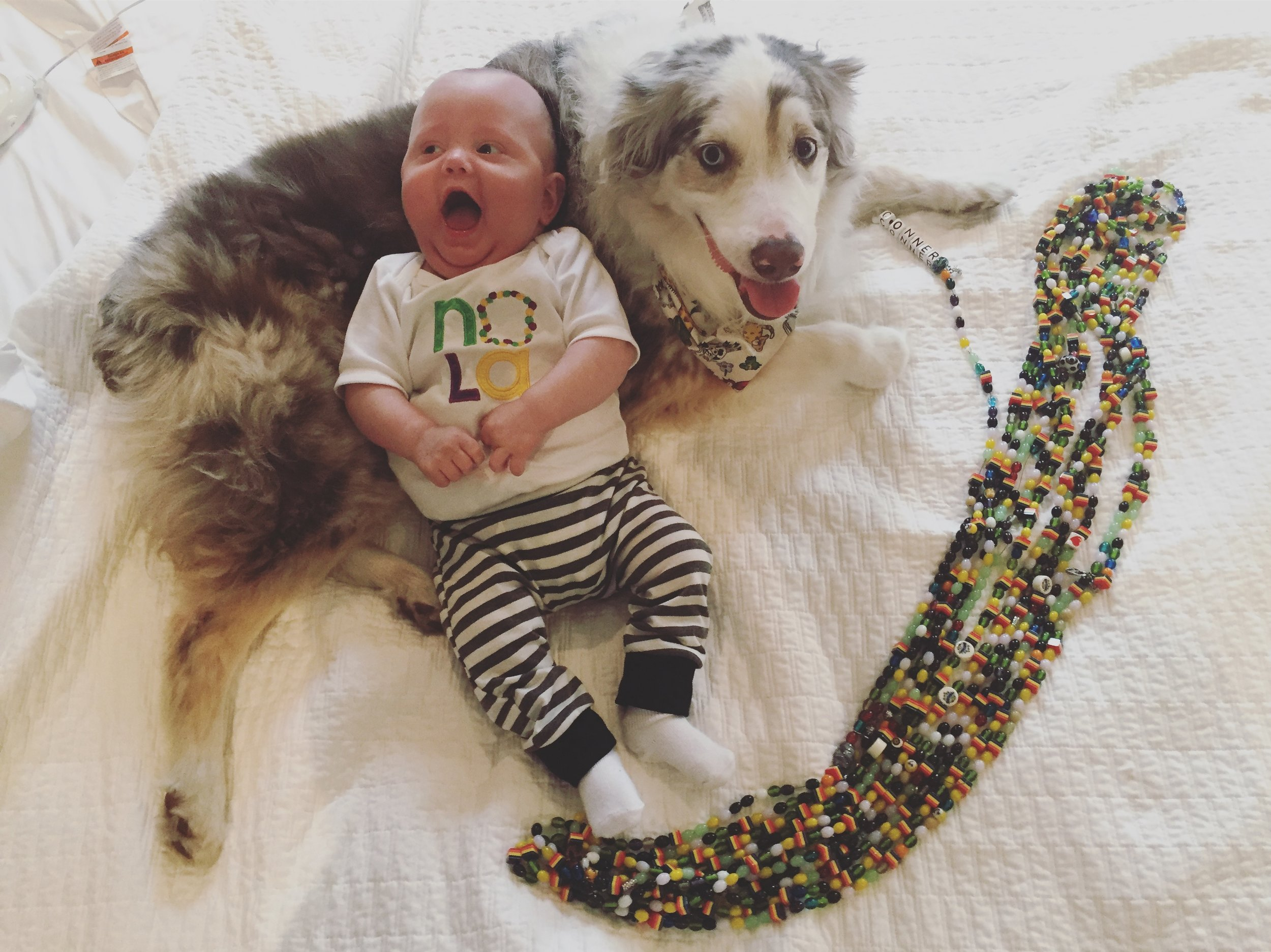 Conner  and Fenway with all of his beads!