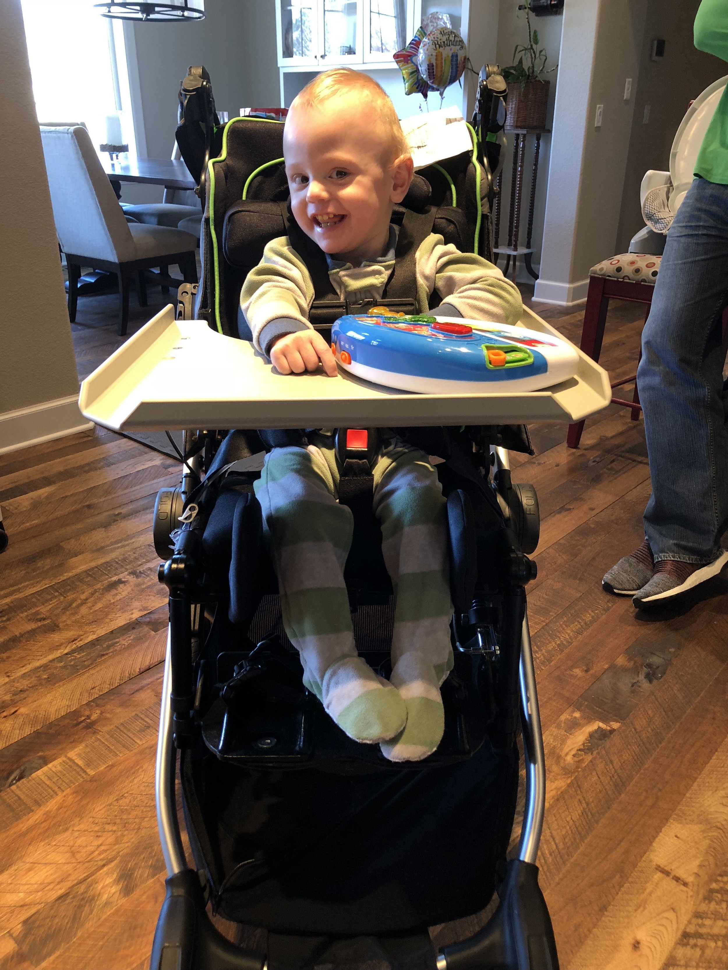 Testing out a Zippy Voyage medical stroller