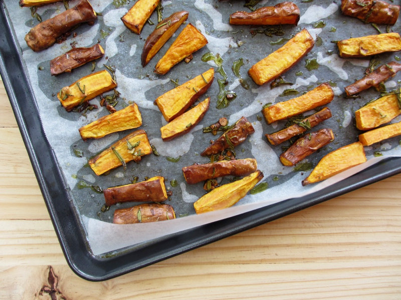 Get your fill of sweet potato with my Simple Sweet Potato Chips with Fresh Rosemary & Garlic