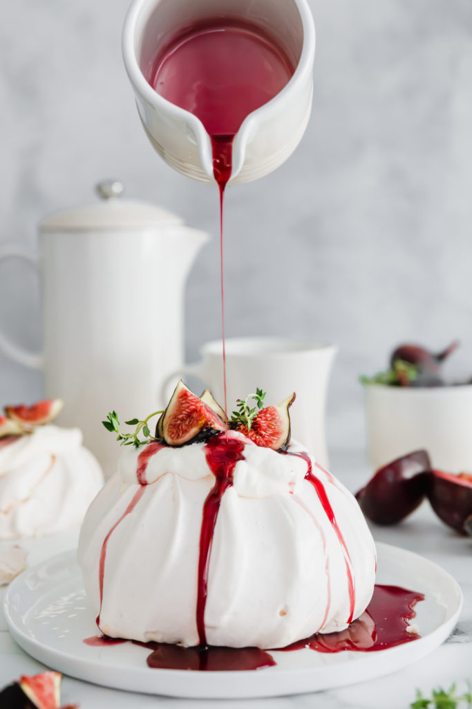Fig & Thyme Pavlova with Spicy Red Wine Plum Syrup // Find the recipe  here