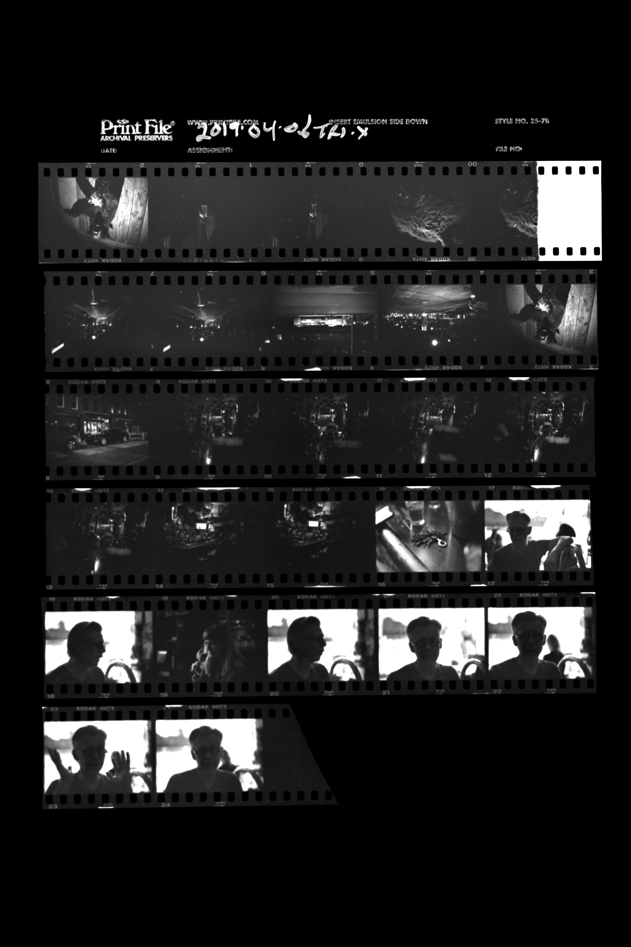 Processed contact sheet
