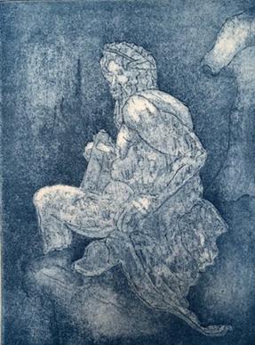 """Zeus,  Etching, 6""""x 4"""", 2019"""