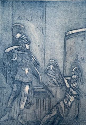 "Death of Achilles, Etching,  8"" x 6"", 2019"